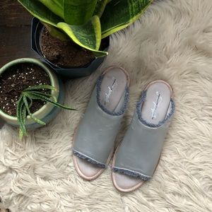 Free People Light Blue Satin Slides